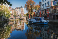 The Oude Gracht in the historic center of the city of Utrecht Stock Image