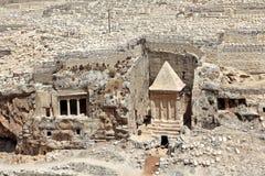 Oude graf en begraafplaats in Jeruzalem, Israël. Royalty-vrije Stock Foto's