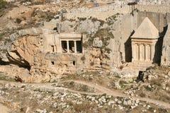 Oude graf en begraafplaats in Jeruzalem, Israël. Royalty-vrije Stock Foto