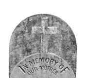 Oude grafsteen voor een geïsoleerde moeder Stock Afbeeldingen