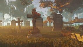 Oude grafstenen bij zonsondergangstralen stock videobeelden