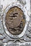 Oude grafzerk met beschadigd portret van de begraven persoon Stock Fotografie