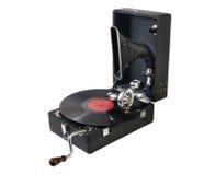 Oude grammofoon met een grammofoonplaat  Stock Afbeelding