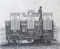Oude gravure op een auto die om van 1869 werd gebruikt te wedden stock fotografie