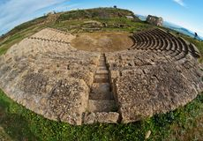 Oude Griekse amfitheater fisheye mening Stock Fotografie