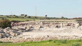Oude Griekse City-State op de Oostkust van Cyprus, Antieke Ruïnes stock videobeelden