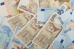 Oude Griekse 1000 drachmenbankbiljetten en euro rekeningen Royalty-vrije Stock Afbeeldingen