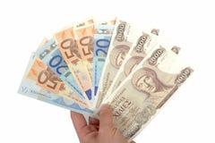 Oude Griekse 1000 drachmenbankbiljetten en euro rekeningen Royalty-vrije Stock Fotografie