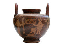 Oude Griekse geïsoleerde vaas royalty-vrije stock afbeelding