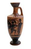 Oude Griekse geïsoleerdeg vaas stock afbeeldingen