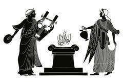 Oude Griekse godin Aphrodite vector illustratie