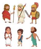 Oude Griekse het beeldverhaalreeks van mensen grappige karakters stock foto's