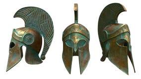 Oude Griekse militaire die helm op wit wordt geïsoleerd royalty-vrije illustratie
