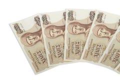 Oude Griekse munt van 1000 drachmenbankbiljetten Stock Foto's