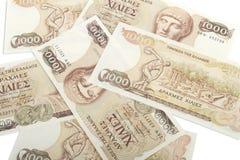 Oude Griekse munt van 1000 drachmenbankbiljetten Royalty-vrije Stock Foto