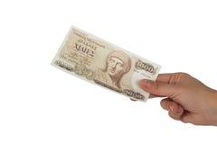 Oude Griekse munt van 1000 drachmenbankbiljetten Royalty-vrije Stock Afbeeldingen