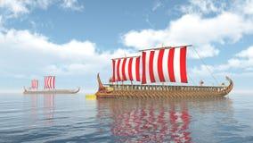 Oude Griekse Oorlogsschepen Stock Afbeeldingen