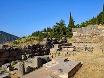 Oude Griekse Ruïnes, Heiligdom van Apollo, Delphi, Griekenland royalty-vrije stock fotografie