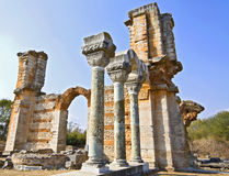 Oude Griekse tempel Stock Foto's