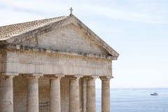 Oude Griekse tempel in Korfu Royalty-vrije Stock Fotografie