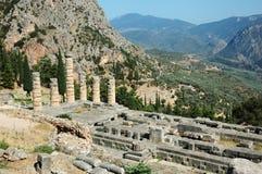 Oude Griekse tempel van Apollo, Delhi, Griekenland Royalty-vrije Stock Foto