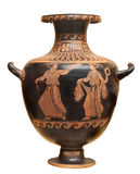 Oude Griekse vaas die op wit wordt geïsoleerd stock foto's