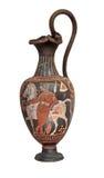 Oude Griekse vaas die op wit wordt geïsoleerds stock afbeelding