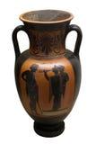 Oude Griekse vaas in zwarte over rode ceramisch Royalty-vrije Stock Afbeeldingen