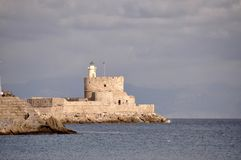Oude Griekse vestingsmuren en rotsen Royalty-vrije Stock Afbeelding