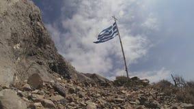 Oude Griekse Vlag die in de Wind golven stock videobeelden