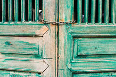 Oude groene deurverf Royalty-vrije Stock Foto's