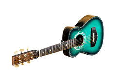 Oude groene gitaar Stock Afbeeldingen