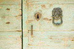 Oude groene houten deur, met leeuw hoofdkloppers Stock Fotografie