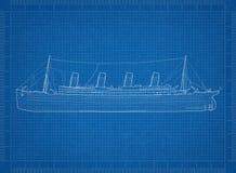 Oude Grote Schipblauwdruk - vector illustratie