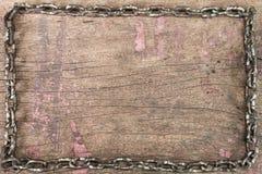 Oude grunge roestige spijkers op uitstekende houten achtergrond Royalty-vrije Stock Foto's