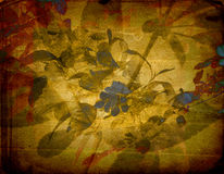 Oude grungeachtergrond met bloemenornament Stock Fotografie
