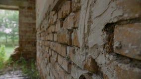 Oude grungebakstenen muur in het verlaten en vernietigde gebouw stock video