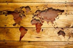 Oude grungekaart van de wereld stock afbeeldingen