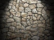 Oude grungemuur van ruwe stenen als achtergrond, lichteffect Stock Foto's