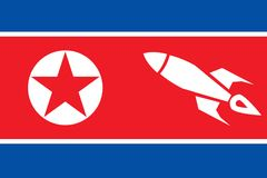 Oude grungevlag van Noord-Korea arsenaal Oorlog Gevaar leger raketten Stock Fotografie