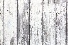 Oude grungy en doorstane witte grijze geschilderde houten de textuurachtergrond van de muurplank Royalty-vrije Stock Fotografie