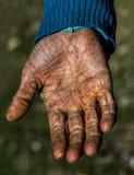 Oude Hand die een Stok houdt Stock Afbeelding