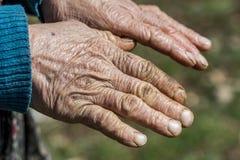 Oude Hand die een Stok houdt Royalty-vrije Stock Foto's