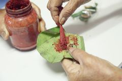 Oude hand die voor het kauwen van betel voorbereidingen treffen Stock Fotografie