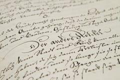 Oude hand het schrijven Royalty-vrije Stock Foto