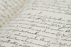 Oude hand het schrijven Royalty-vrije Stock Afbeeldingen