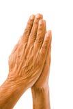 Oude handen het bidden stock foto's