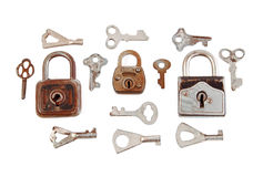 Oude hangslot en sleutel Royalty-vrije Stock Afbeeldingen