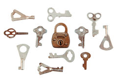 Oude hangslot en sleutel Royalty-vrije Stock Foto