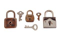 Oude hangslot en sleutel Royalty-vrije Stock Afbeelding